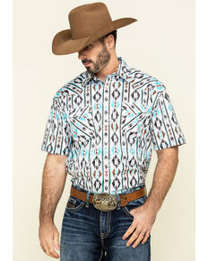 Rough Stock by Panhandle Men's Seneca Aztec Print Short Sleeve Western Shirt , White, hi-res