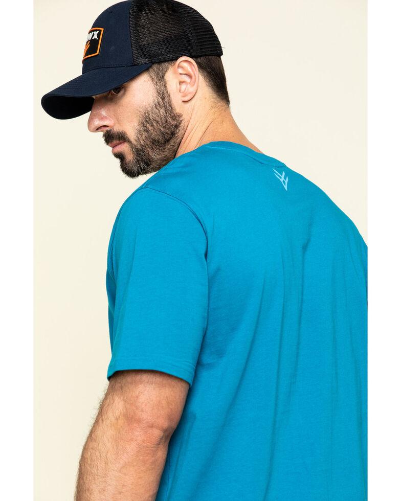 Hawx Men's Teal Fractal Camo Logo Graphic Work T-Shirt , Teal, hi-res
