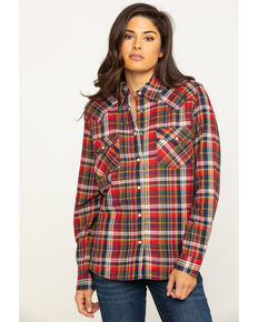 Wrangler Women's Red Plaid Sherpa Lined Flannel , Red, hi-res