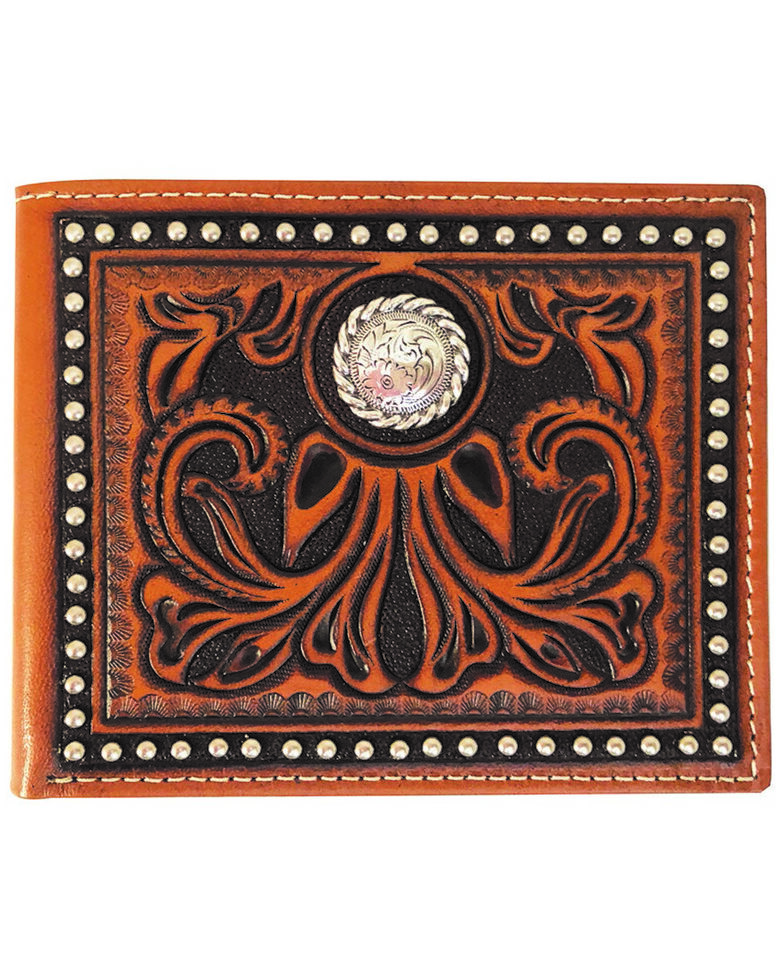 Roper Men's Tan Pass Case Tooled Wallet , Tan, hi-res
