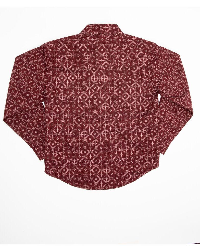 Roper Boys' Lattice Shadow Geo Print Performance Long Sleeve Western Shirt , Red, hi-res
