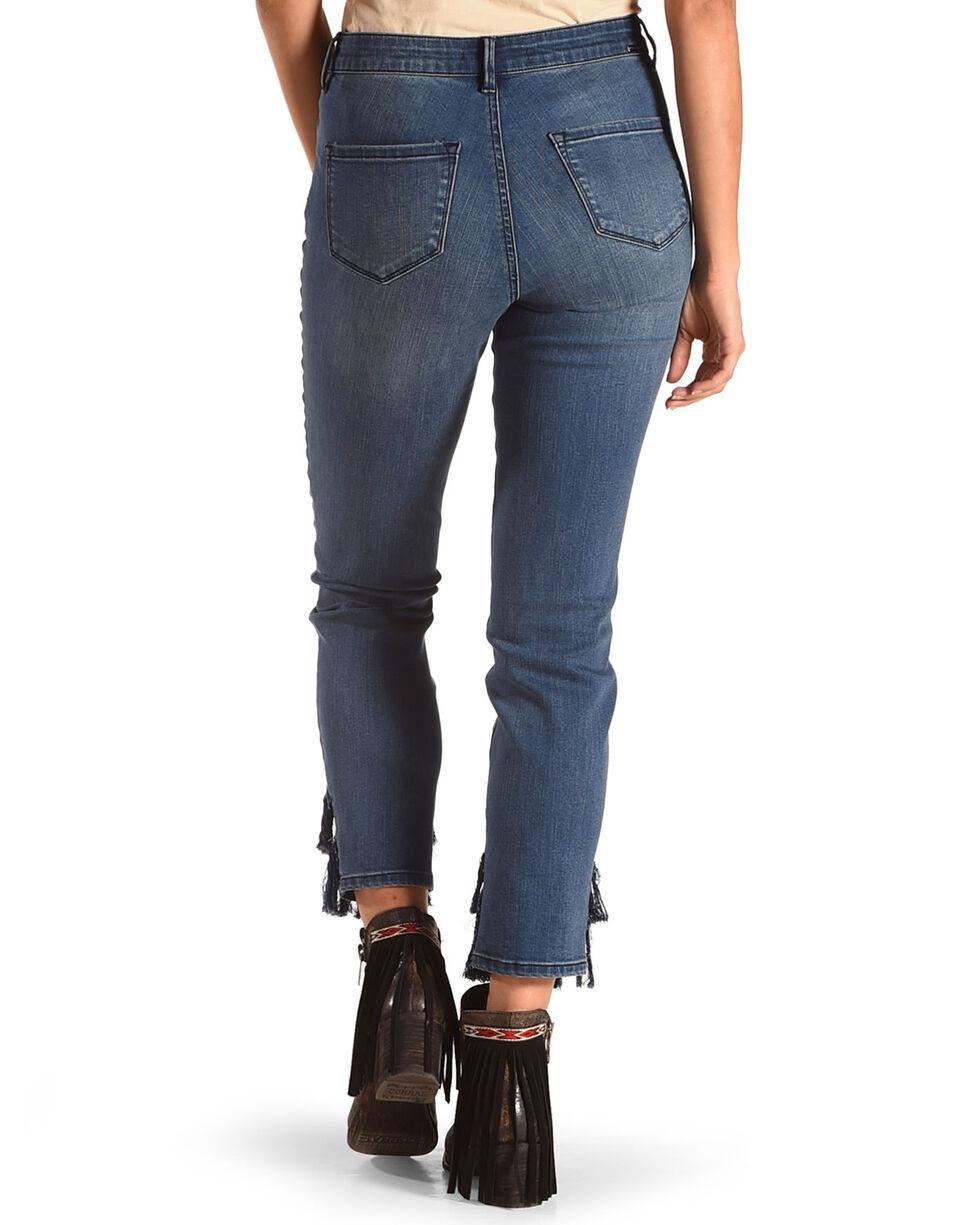 Tractr Women's Hi-Waist Crop Ankle Fringe Hem Straight Leg Jeans , Indigo, hi-res