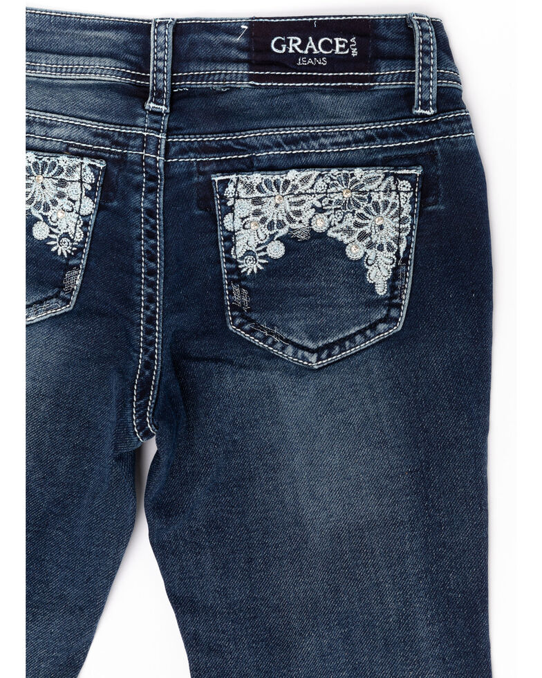 Grace in LA Girls' Medium Floral Lace Bootcut Jeans , Blue, hi-res