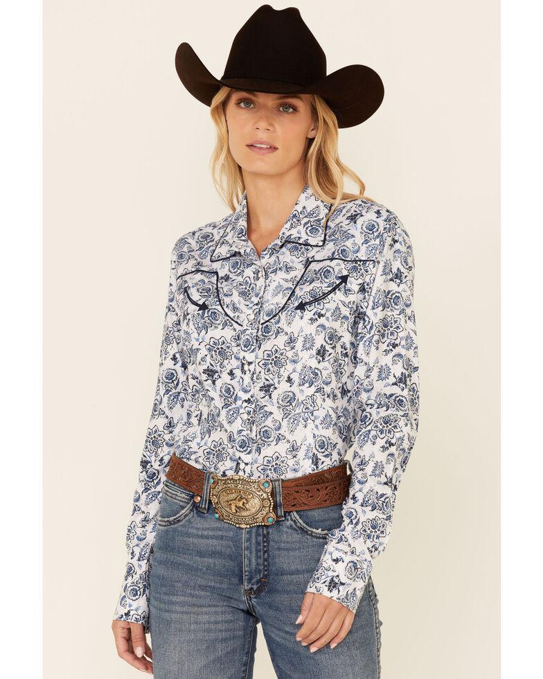 Panhandle Women's Ivory & Blue Floral Print Long Sleeve Snap Western Core Shirt , Blue, hi-res