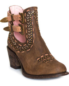 Miss Macie Women's Brown Geez Louise Booties - Round Toe, Brown, hi-res
