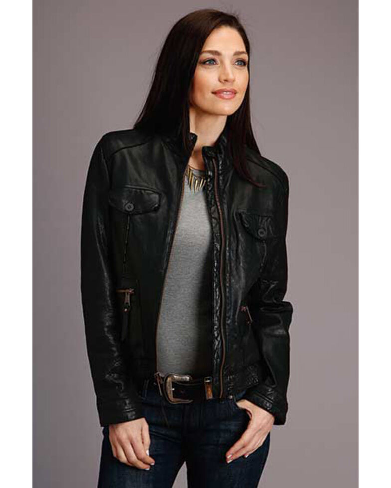 Stetson Women's Black Leather Jacket , Black, hi-res