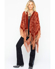 Idyllwind Women's It's A Wrap Fringe Poncho, Rust Copper, hi-res