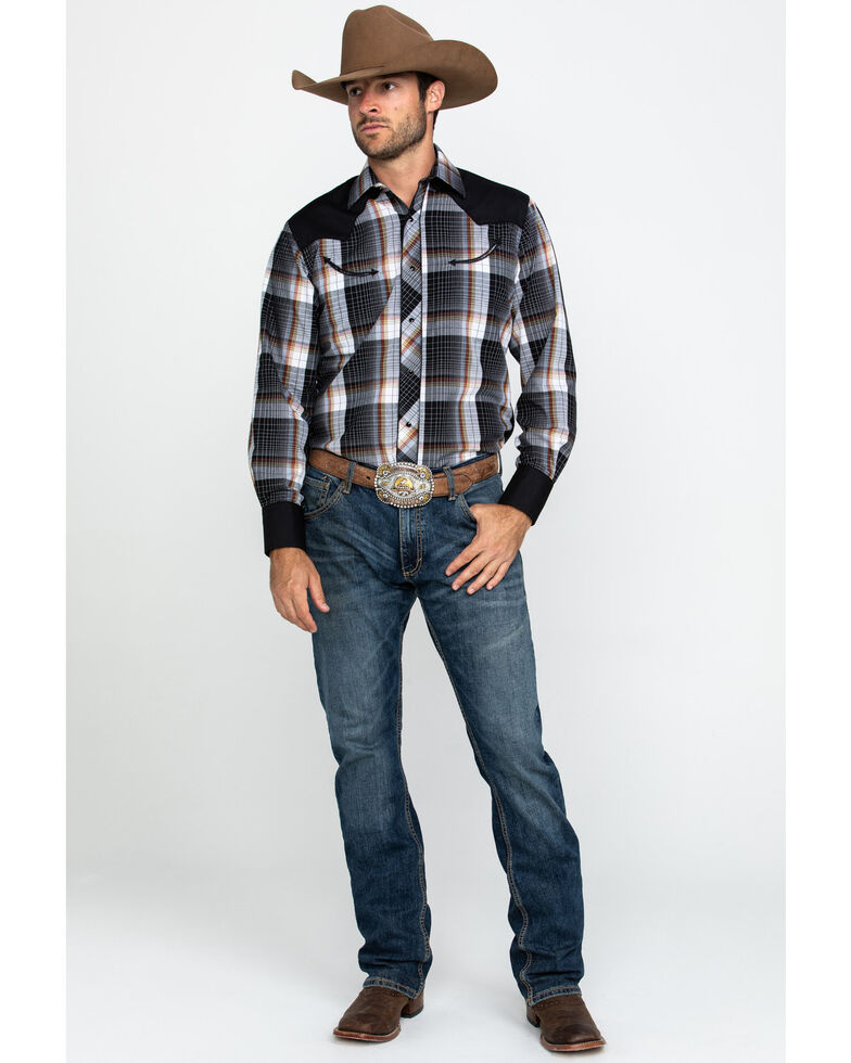 Roper Men's Black Retro Plaid Contrast Fancy Yoke Long Sleeve Western Shirt , Black, hi-res