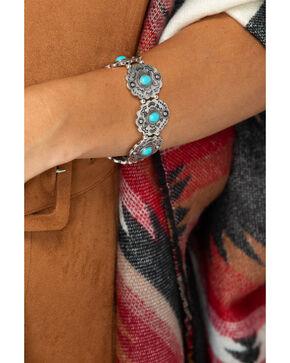 Shyanne Women's Aztec Concho Stretch Bracelet, Silver, hi-res