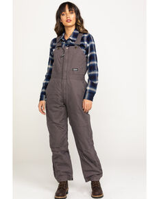 Berne Women's Titanium Softstone Insulated Bib Overalls - Short, Grey, hi-res