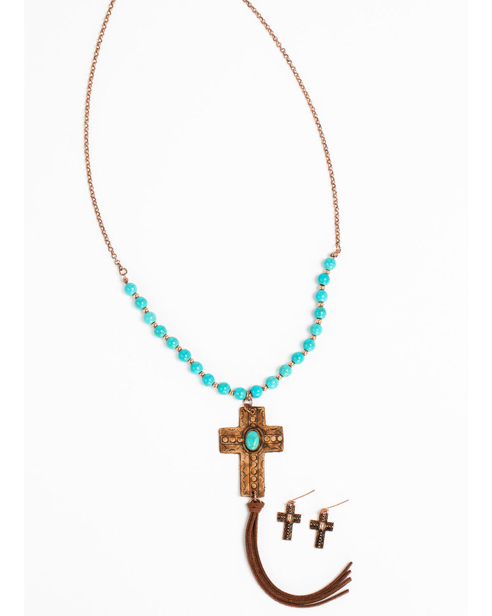 Shyanne Women's Copper and Turquoise Cross Set, Tan/copper, hi-res