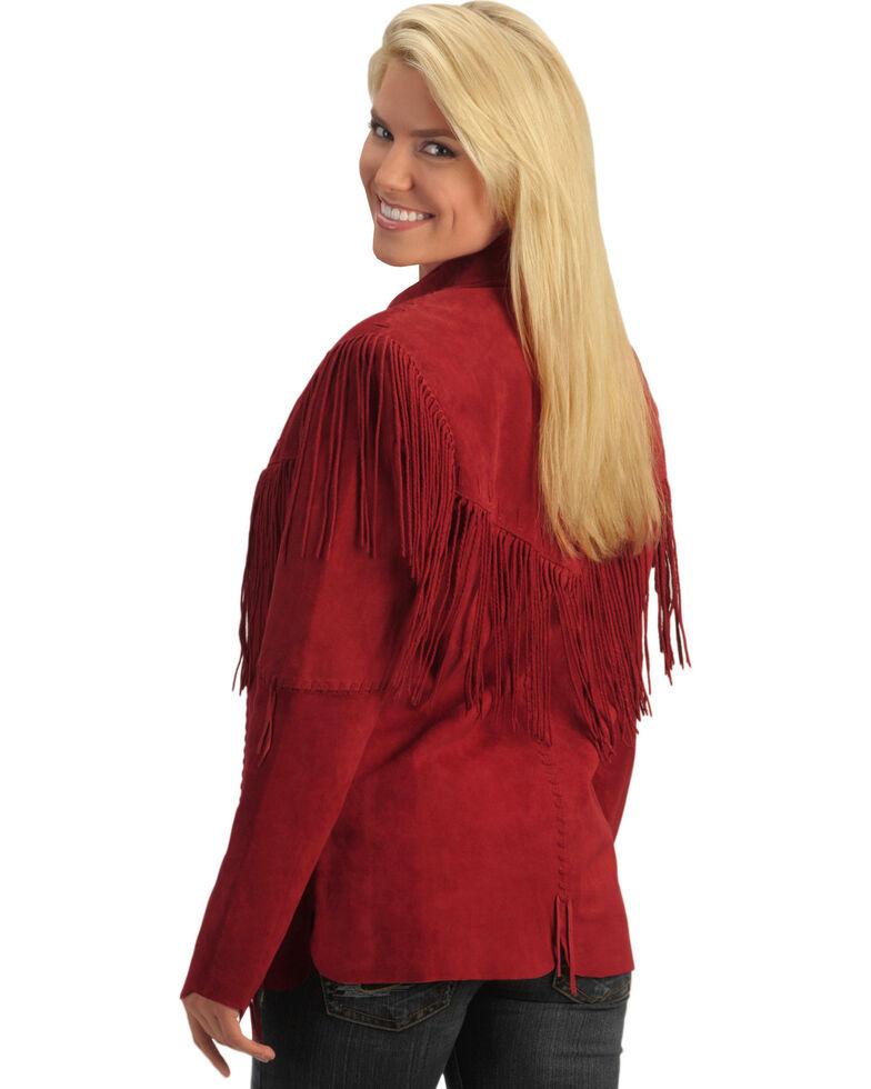 Scully Women's Fringe Jacket, Red, hi-res
