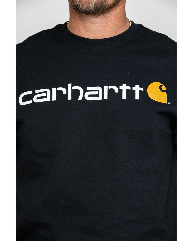 Carhartt Men's Signature Logo Graphic Short Sleeve Work T-Shirt , Black, hi-res