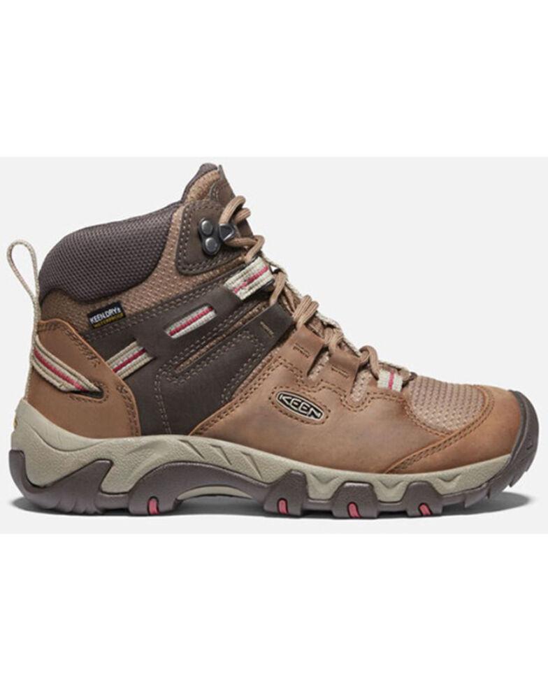Keen Women's Toasted Coconut & Tibetan Red Steens Full-Grain Waterproof Hiking Boot , Brown, hi-res