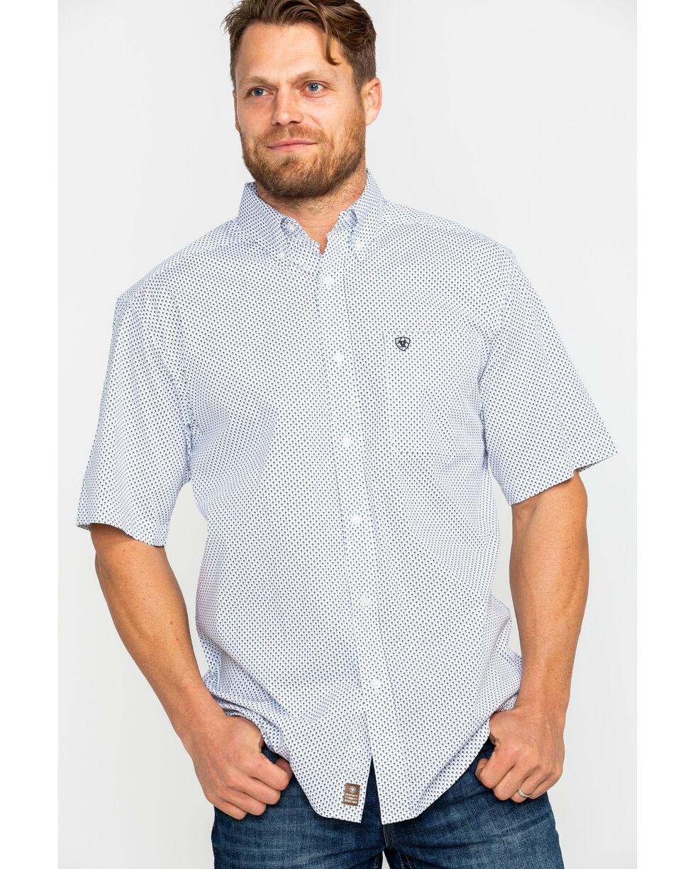 Ariat Men's Gearheart Stretch Geo Print Short Sleeve Western Shirt , White, hi-res