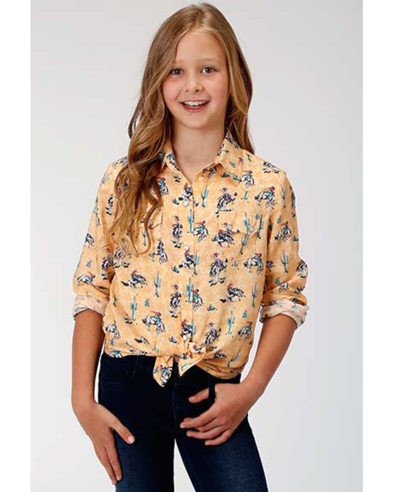 Five Star Girls' Yee-haw Yellow Bronco Snap Long Sleeve Western Shirt, Yellow, hi-res