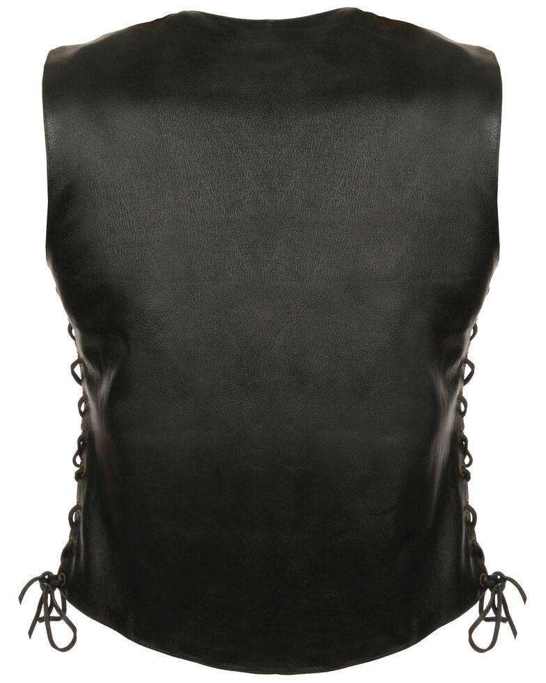Milwaukee Leather Women's Side Lace Snap Front Vest, Black, hi-res