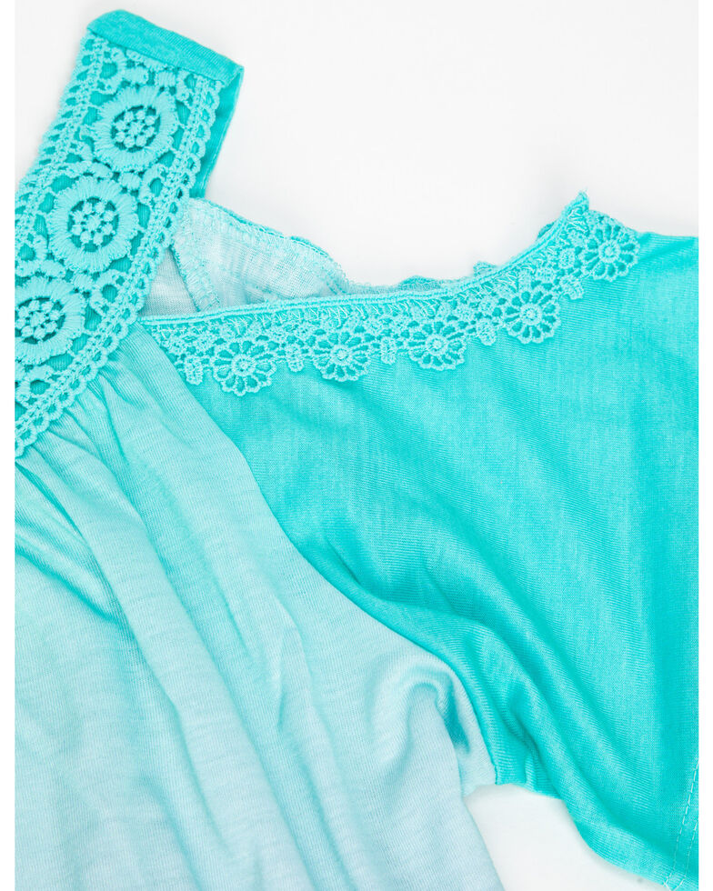 Shyanne Girls' Dip Dye Cold Shoulder Ombre Tank & Necklace Set, Aqua, hi-res