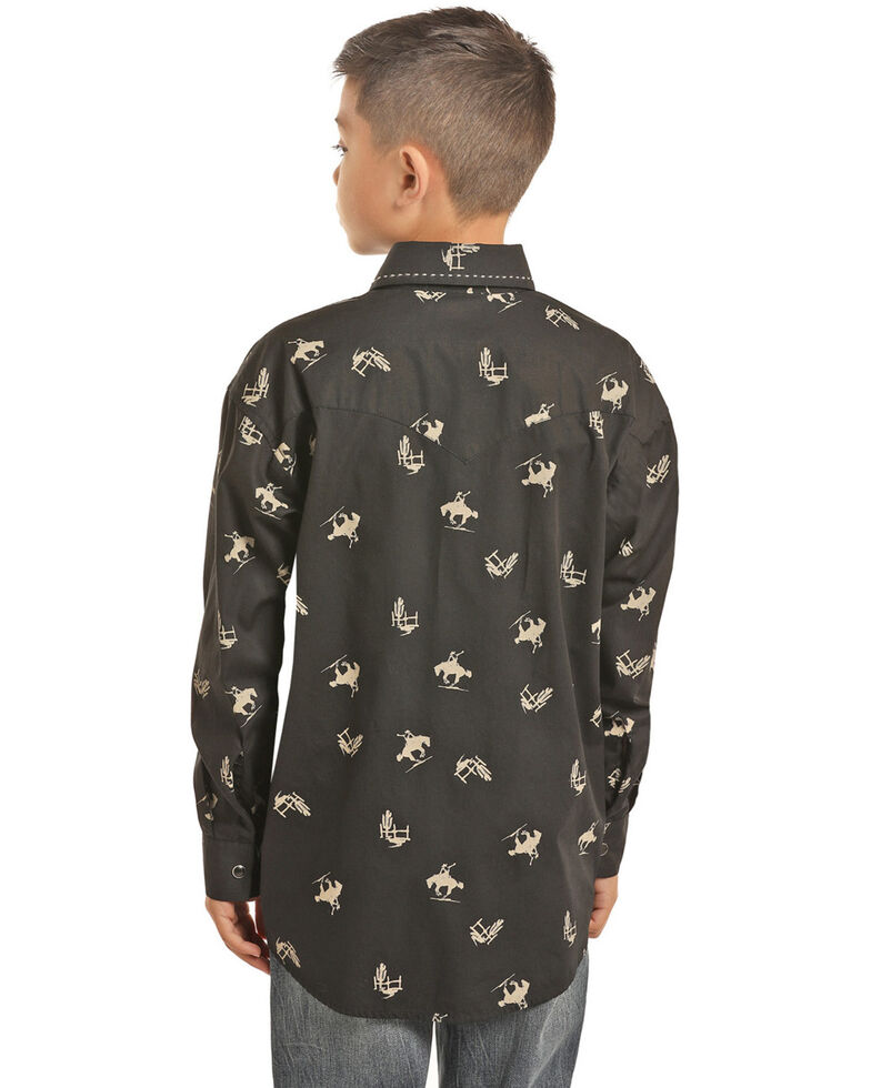 Rock & Roll Denim Boys' Bucking Horses Print Long Sleeve Western Shirt , Black, hi-res