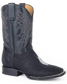 Roper Men's All In Stingray Western Boots - Square Toe, Black, hi-res