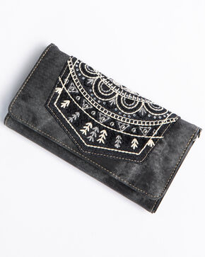 Shyanne Women's Black Embroidered Pocket Wallet Crossbody, Black, hi-res