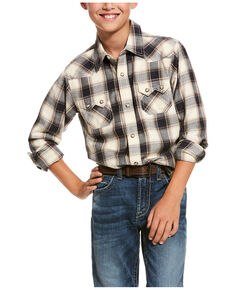 Ariat Boys' Kaiser Retro Plaid Long Sleeve Western Shirt , Multi, hi-res