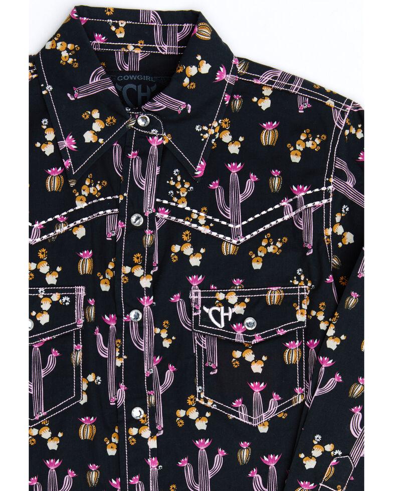 Cowgirl Hardware Girls' Black Cactus Print Long Sleeve Western Shirt , Black, hi-res