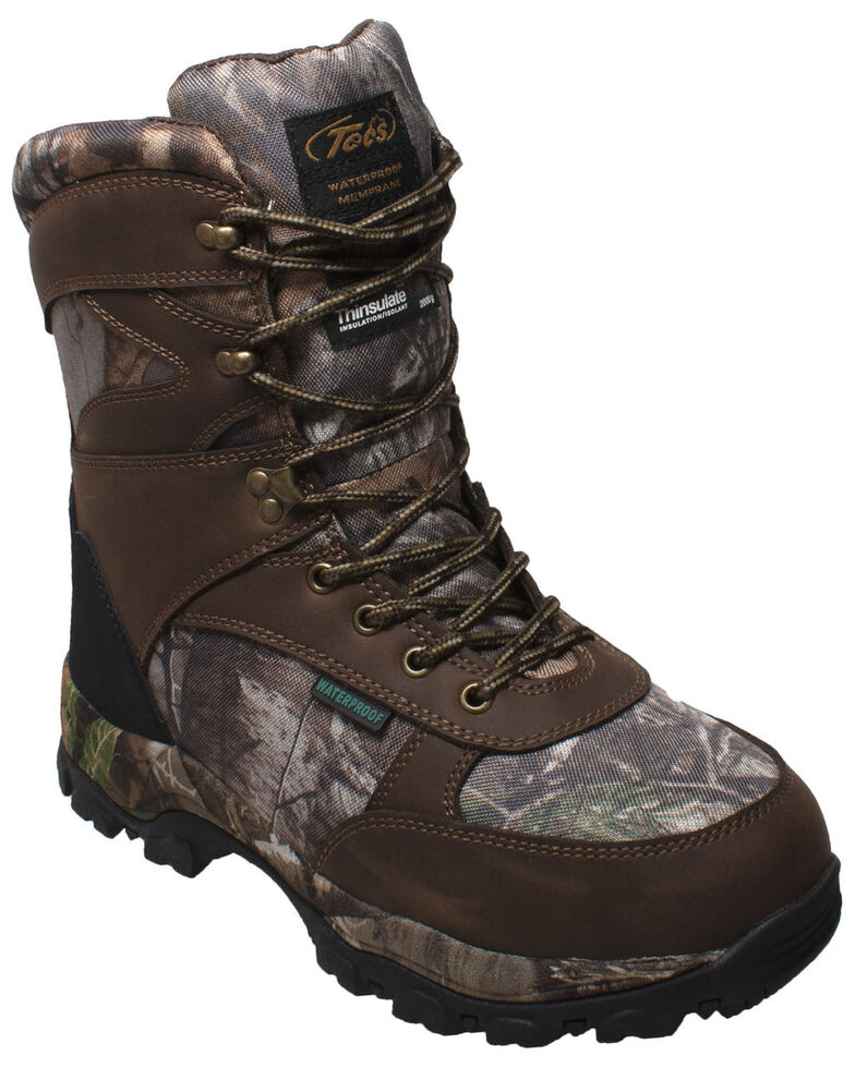 Tecs Men's Lace-Up Camo Hunting Boots - Soft Toe, Brown, hi-res