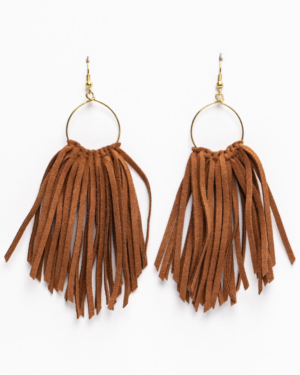 Idyllwind Women's Fringe Outlaw Earrings, Brown, hi-res