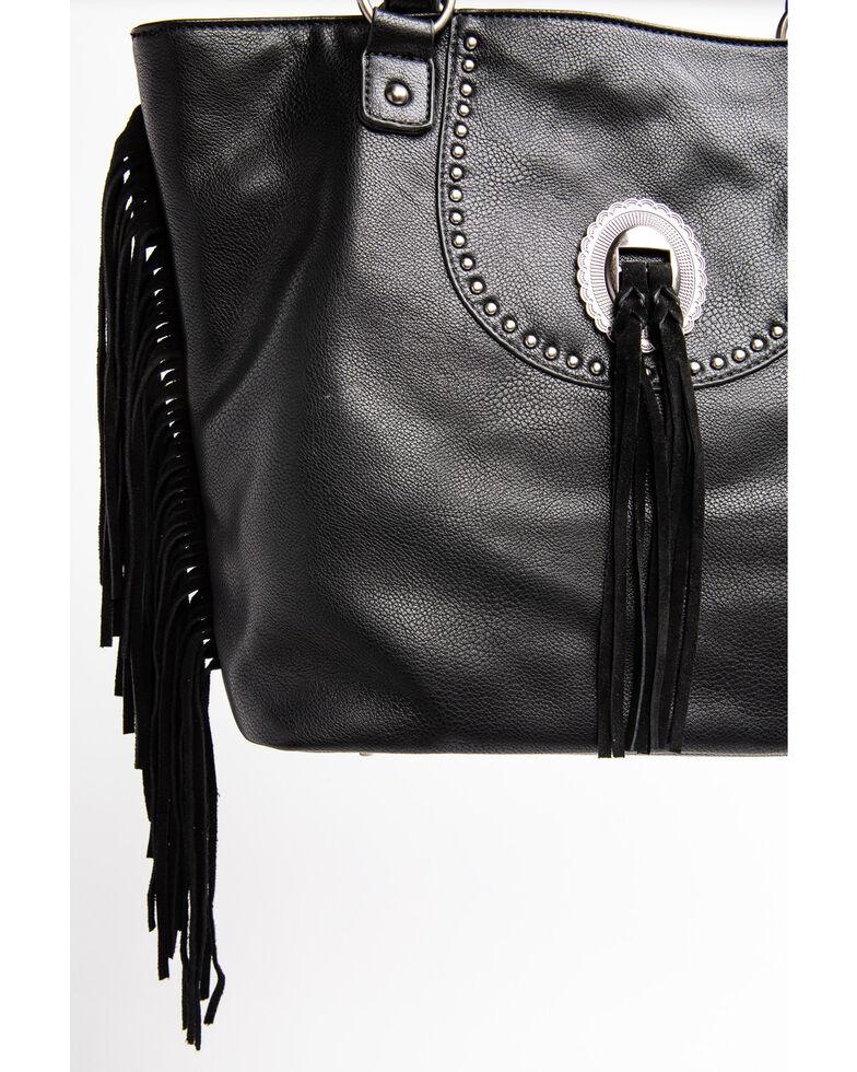 Shyanne Women's Black Kinsey Fringed Concho Leather Tote Handbag, Black, hi-res