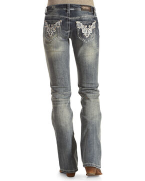 Shyanne® Women's Sequin Embroidered Boot Cut Jeans, Blue, hi-res