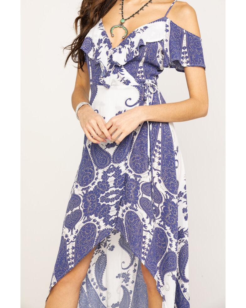 Shyanne Women's Navy Ikat Cold Shoulder Maxi Dress, Navy, hi-res
