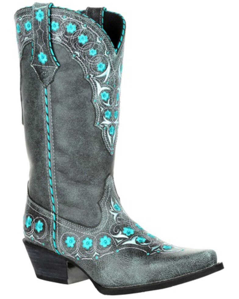 Durango Women's Crush Blue Floral Western Boots - Snip Toe, Grey, hi-res