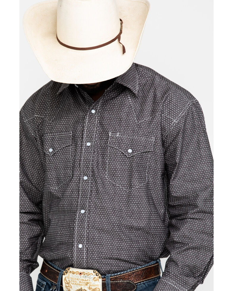 Stetson Men's Classic Dots and Dashes Geo Print Long Sleeve Western Shirt , Grey, hi-res