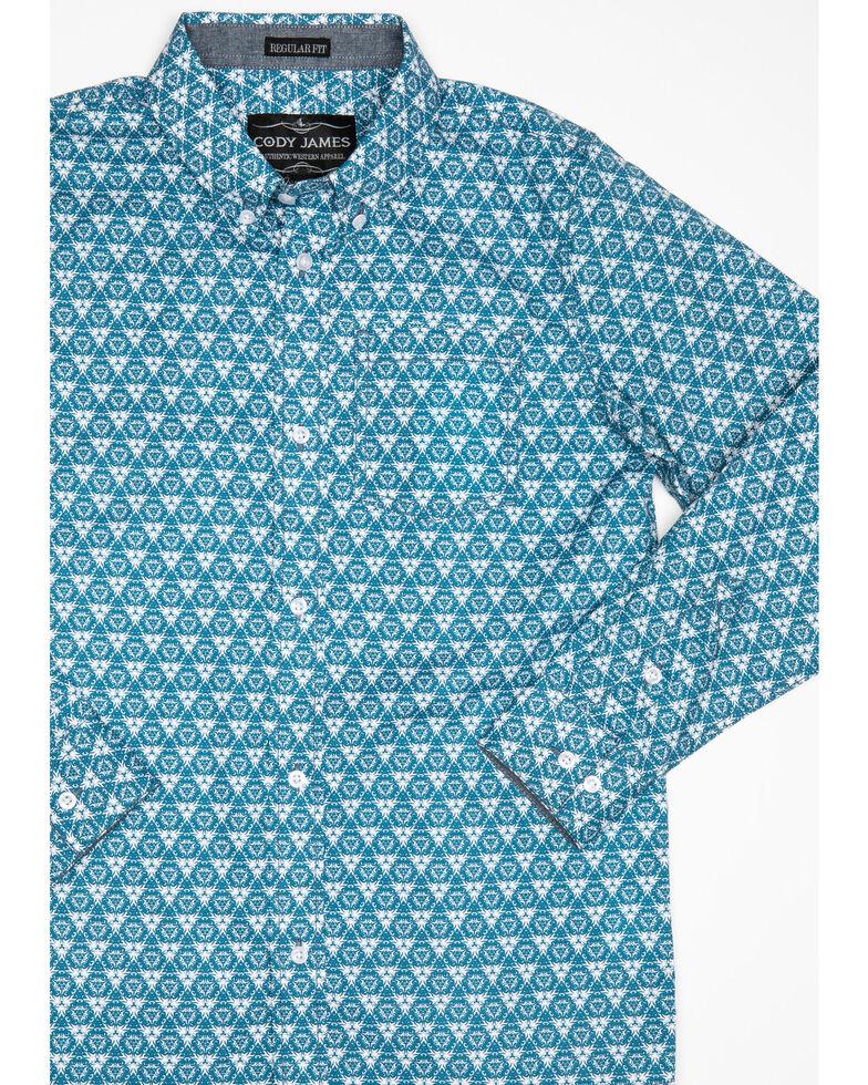 Cody James Boys' Hazard Geo Print Long Sleeve Western Shirt , Teal, hi-res