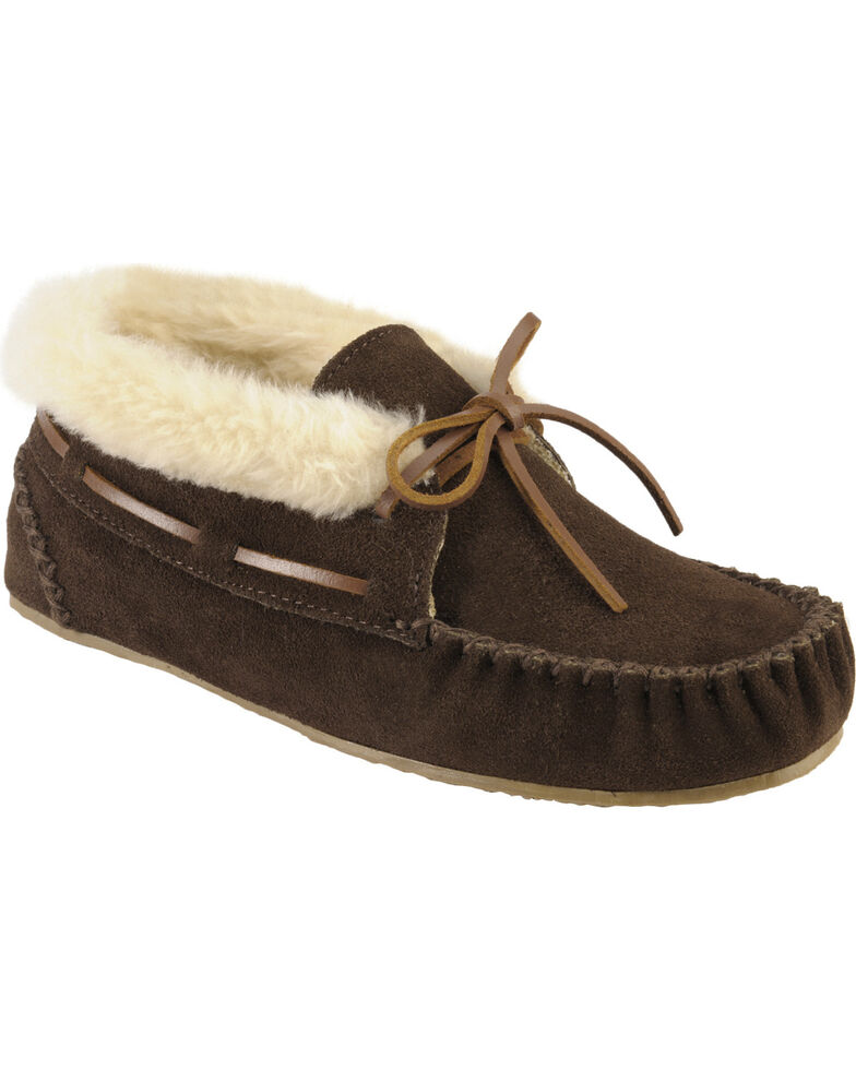 Women's Minnetonka Chrissy Bootie Moccasins, Chocolate, hi-res