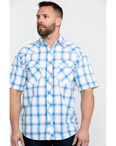 Resistol Men's Joshua Tree Med Plaid Short Sleeve Western Shirt , Blue, hi-res