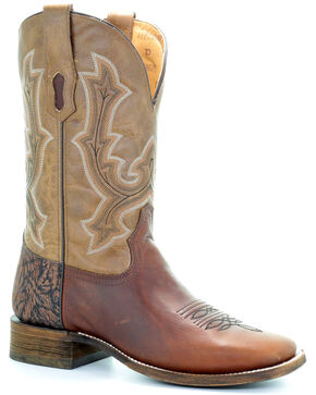 Corral Men's Tan Tyson Durfey Performance Line TD Boots - Wide Square Toe , Tan, hi-res