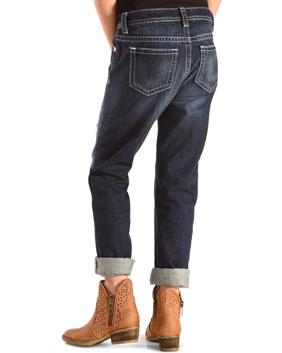 Miss Me Girls' Met Your Patch Boyfriend Ankle Jeans, Indigo, hi-res