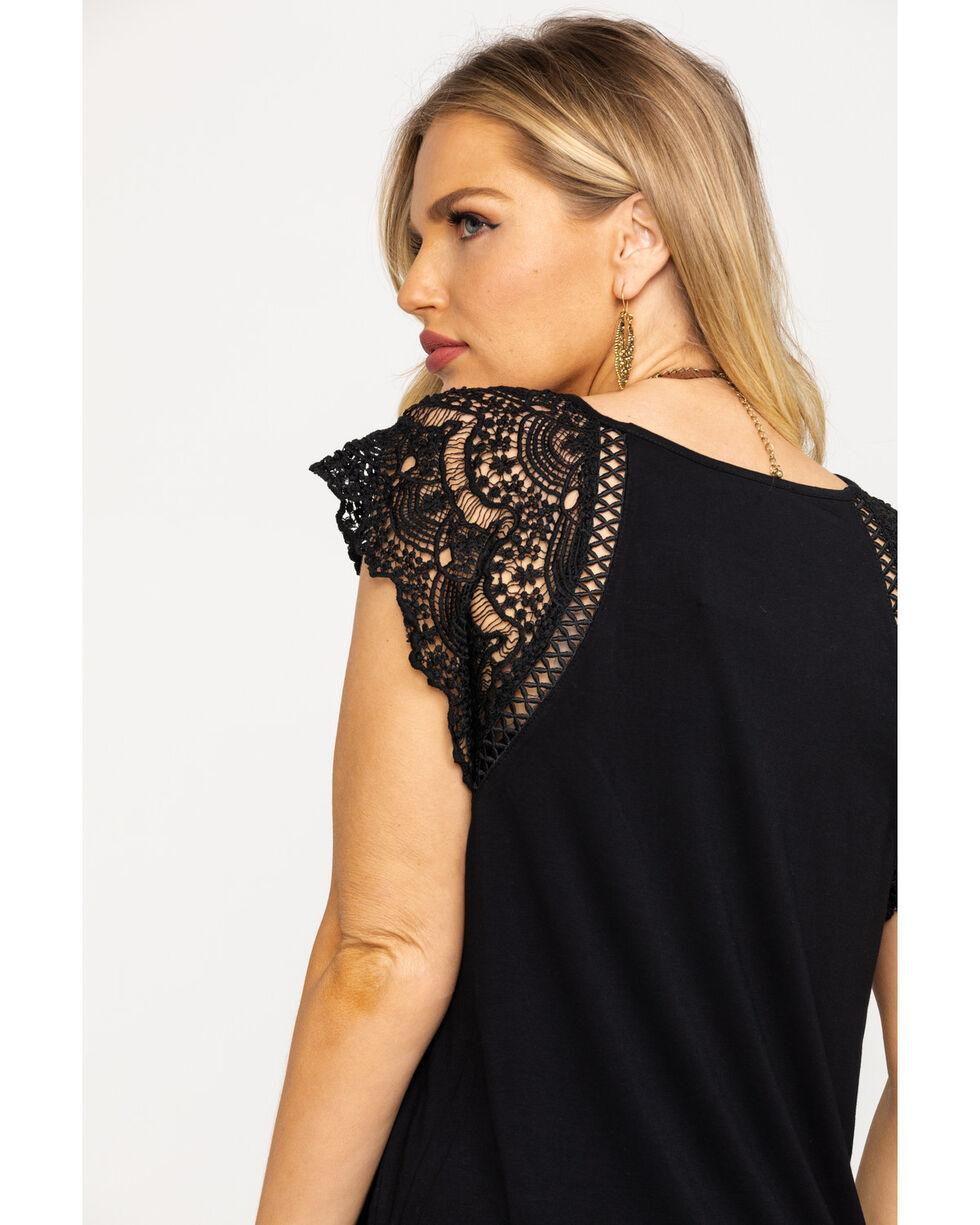 Miss Me Women's Black Lace Short Sleeve Top, Black, hi-res