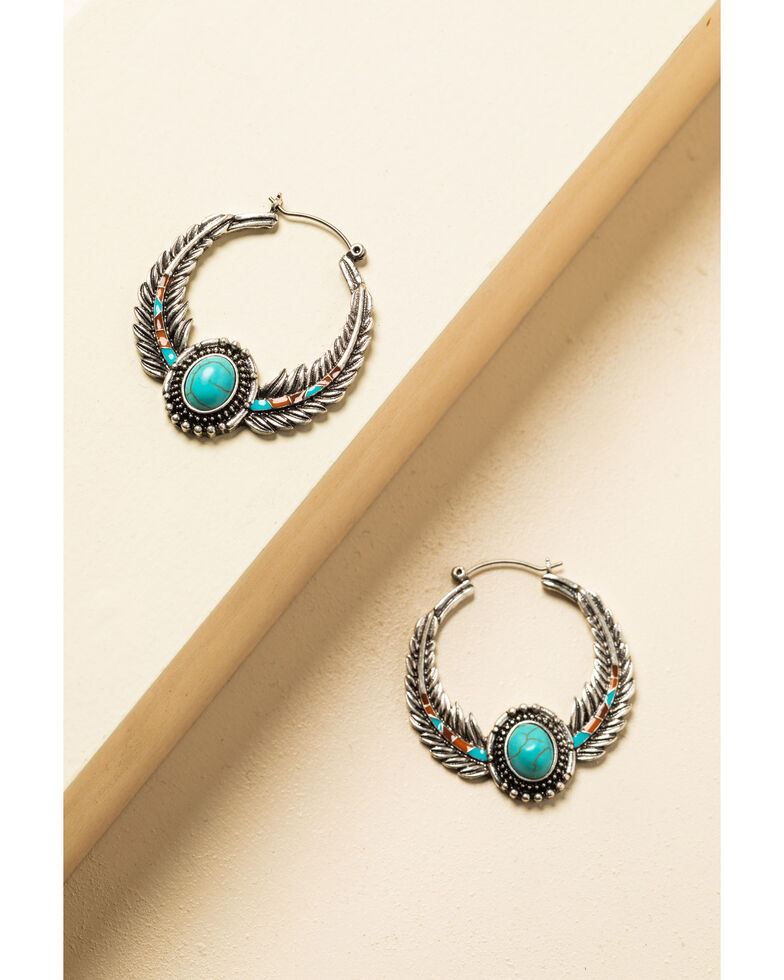 Shyanne Women's In The Oasis Small Feather Hoop Stone Earrings , , hi-res
