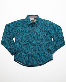 Roper Boys' Paisley Print Long Sleeve Western Shirt , Blue, hi-res