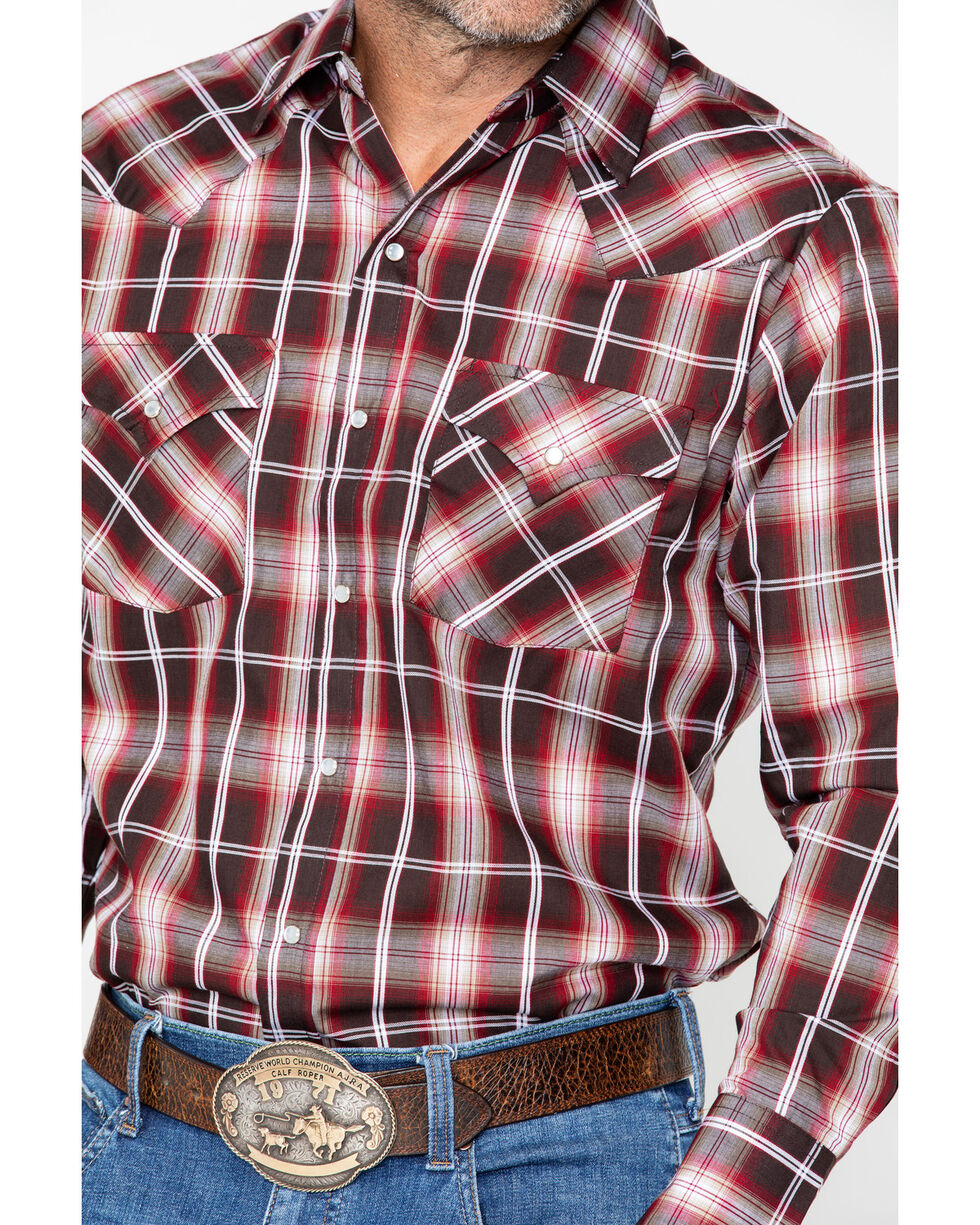Ely Cattleman Men's Western Woven Textured Plaid Shirt , Burgundy, hi-res