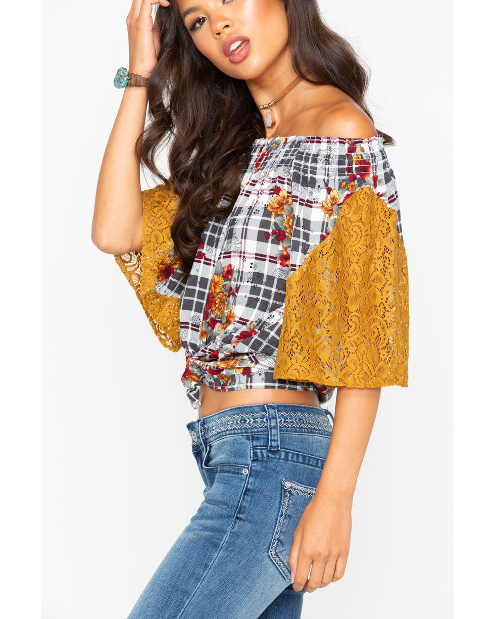 Ivory Love Women's Floral Off The Shoulder Lace Plaid Top , Gold, hi-res