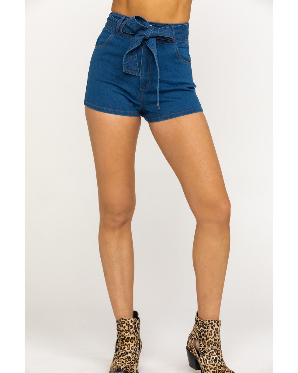Flying Tomato Women's Medium Tie-Up High Rise Shorts, Blue, hi-res