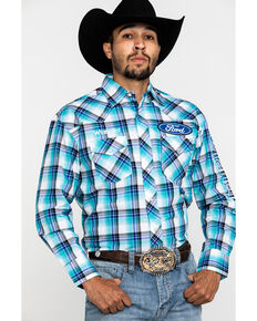 Wrangler Men's Teal Plaid Ford Logo Long Sleeve Western Shirt , Teal, hi-res