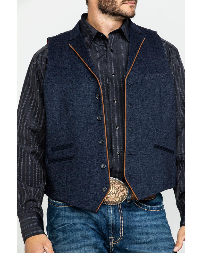 Scully RangeWear Men's Western Wool Four Pocket Vest , Blue, hi-res