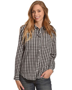 New Direction Sport Women's Gingham Plaid Shirt , Black, hi-res