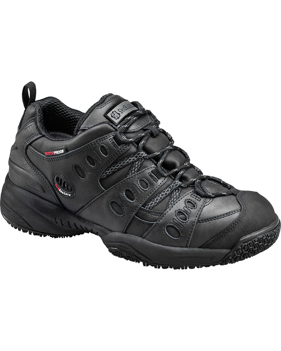 SkidBuster Men's Waterproof Slip Resistant Work Shoes, Black, hi-res