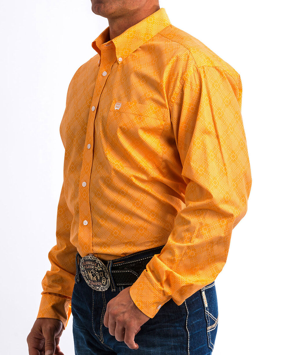 Cinch Men's Orange Geometric Print Western Shirt, Orange, hi-res